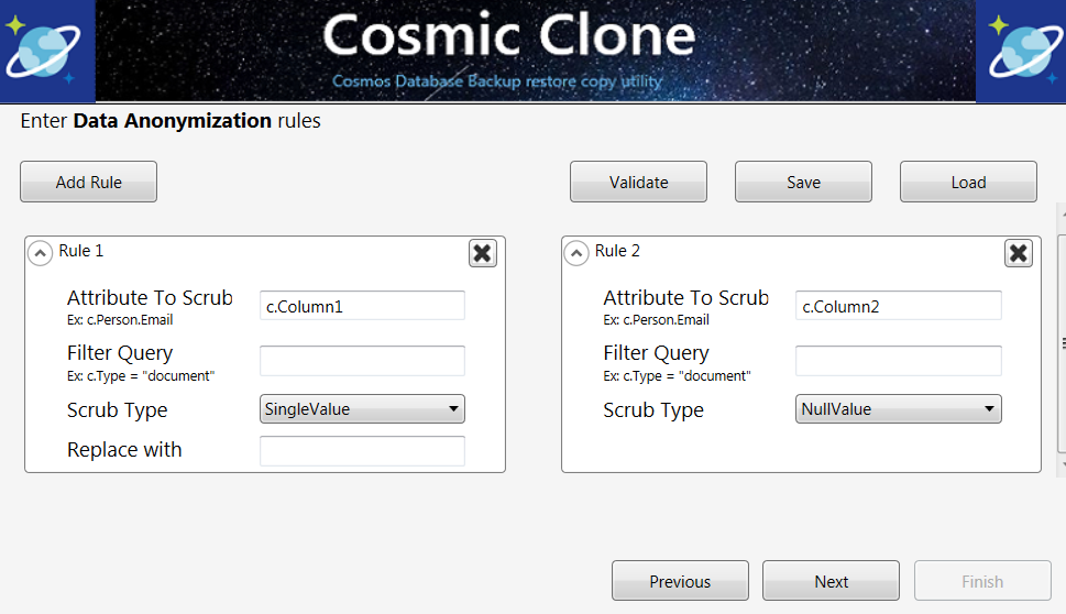 Cosmic Clone Data Handling Rules